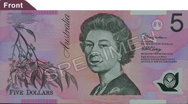 Un billet de 5 dollars australien en polymère
