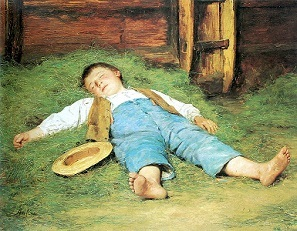 Garçon dormant dans le foin (1897) - Albert Anker