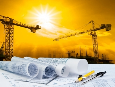 """Plant On Working Table And Crane Construction Background"", Khunaspix (CC)"