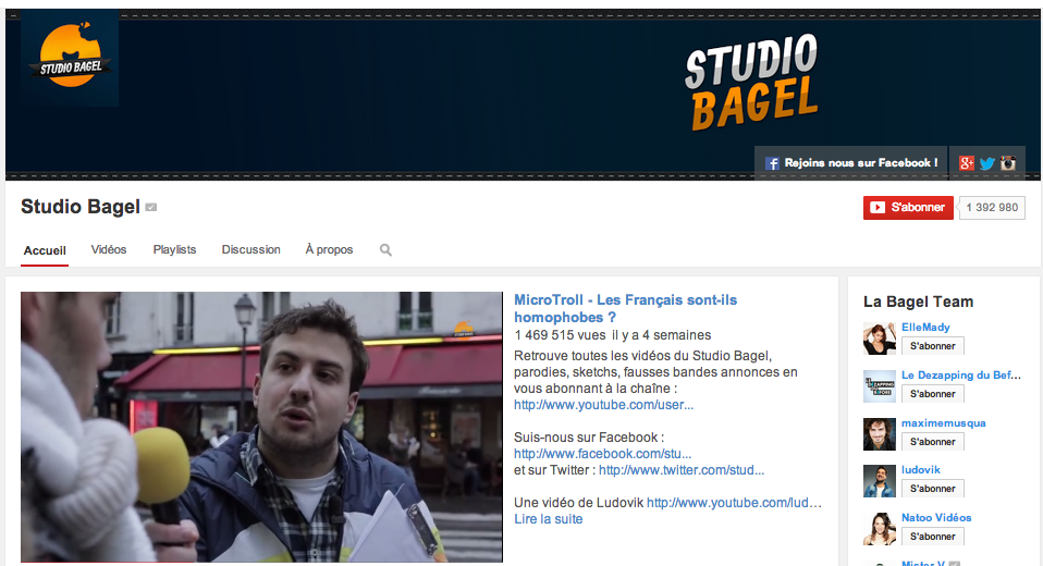Canal + continue son offensive internet avec l'achat de la chaine Youtube Studio Bagel
